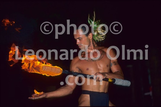 French Polynesia, Moorea, tahitian show, man with torch fire (40-9) JPG copy