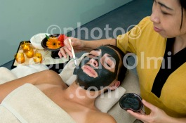 Mud Treatment on Face, Kempinski Hotel Spa, Dead Sea, Jordan