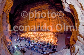 Treasury Palace at night with candles, Petra, Jordan