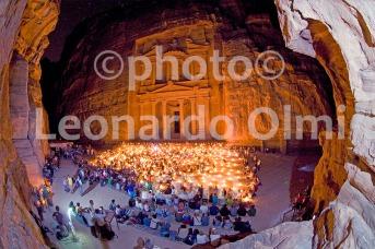 Treasury Palace at night with candles, Petra, Jordan