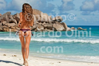 Seychelles, La Digue, Grand Anse beach, girl running DSC_9996 JPG copy