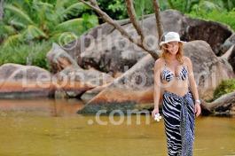 Seychelles, Praslin island, Anse Lazio beach, girl walking DSC_9981 bis JPG copy